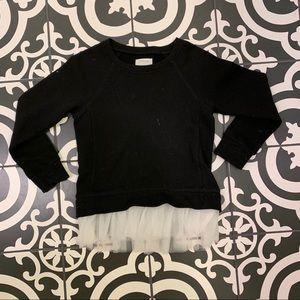 CrewCuts Black Sweater w/ White Ruffle Hem